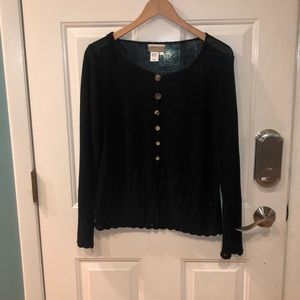 NWOT COLD WATER CREEK BLACK LOOSE KNIT SWEATER